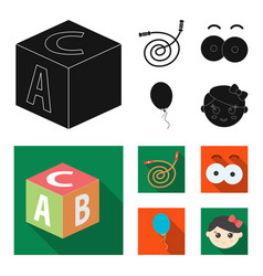 Children toy black flat icons in set collection vector