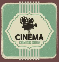 cinema poster vintage projector film movie vector image