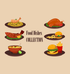 collection of dishes soup salad pasta with vector image