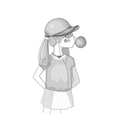 colorless young teen girl in a baseball cap with vector image