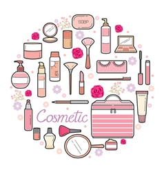 Cosmetics And Beauty Icons Set vector image