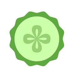 cucumber slice closeup icon green round piece of vector image