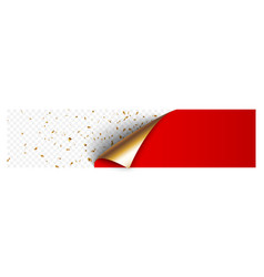 curled corner gold and red paper with shadow vector image