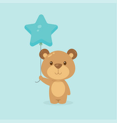 Cute bear holding balloon free vector