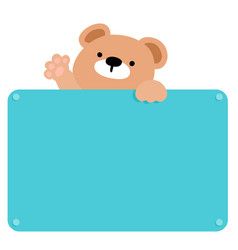 cute brown bear hold blank board vector image