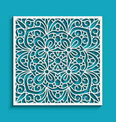 Cutout paper panel with lace pattern vector