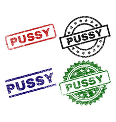 Damaged textured pussy stamp seals vector