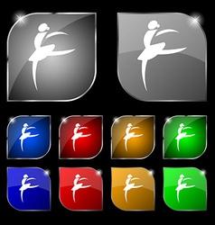 Dance girl ballet ballerina icon sign Set of ten vector