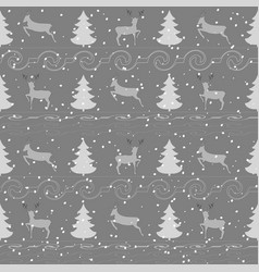 deer and christmas tree seamless pattern 1 vector image