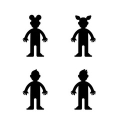 Dolls little boy and girl black silhouette vector