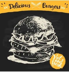 Drawn burger hamburger sketch vector