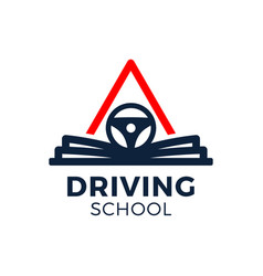 Driving school logo book car wheel road sign and vector