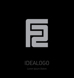 f2 - design element or icon f and 2 initial logo vector image