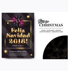 Feliz navidad 2018 merry christmas in spanish vector