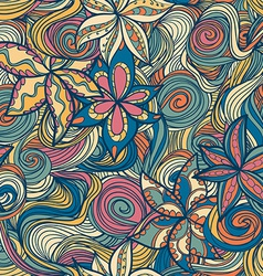 floral pattern with colorful blooming flowers and vector image