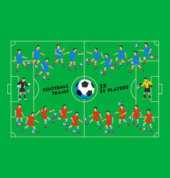Football players on a green field soccer players vector