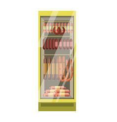fridge with glass door full of sausages isolated vector image
