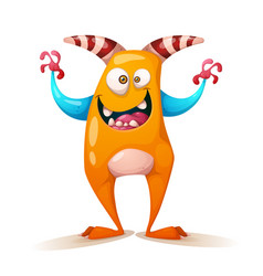 funny cute crazy monster - cartoon characters vector image