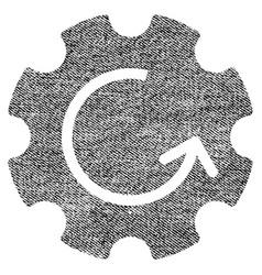 Gear rotation fabric textured icon vector
