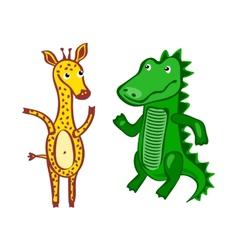 giraffe Crocodile File EPS10 Hand-drawn cartoon vector image