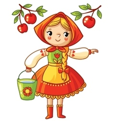 Girl collects apples in a bucket vector