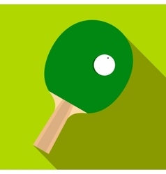 Green racket for playing table tennis flat icon vector image