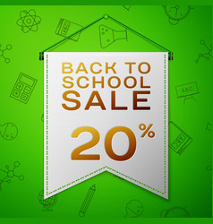 Grey pennant back to school sale twenty percent vector