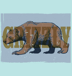 Hand drawing style vintage grizzly bear poster vector