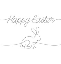 happy easter decorations with one line vector image