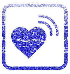 Heart radio signal framed textured icon vector