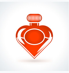Heart shaped bottle of perfume st valentines day vector