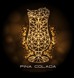 hipster polygonal cocktail pina colada neon sign vector image