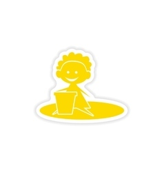 Icon sticker realistic design on paper baby sand vector