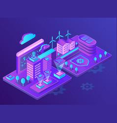 Innovative smart city neon isometric vector