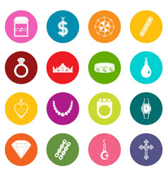 Jewelry items icons many colors set vector