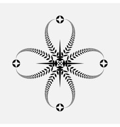 Laurel wreath tattoo icon Black ornament Cross vector