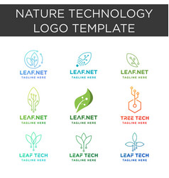 Leaf technology logo collection design internet vector