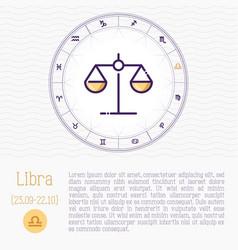 Libra in zodiac wheel horoscope chart vector