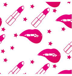Lipstick and mouth background vector