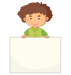 Little boy holding blank paper vector