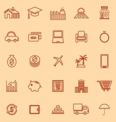 Loan line color icons on orange background vector