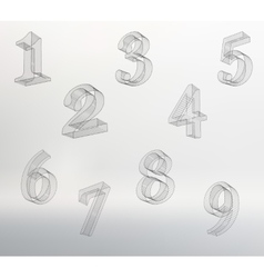 low poly numbers font Set Polygon number vector image