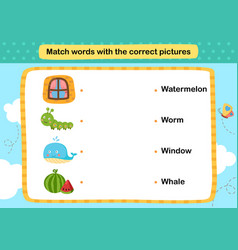 Match words with correct pictures vector