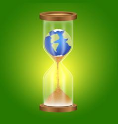 Metaphor of the globe in the hourglass vector