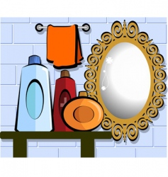 mirror in bathroom vector image