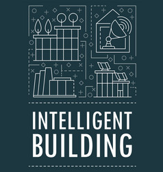 modern intelligent building banner outline style vector image