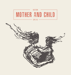 mother hugs child silhouette drawn sketch vector image