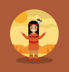 Native american indian character female with vector