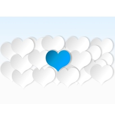 Paper hearts background with alone blue heart vector