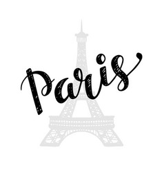 Paris trendy card design with hand drawn lettering vector